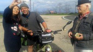 Alman gezgin, bisikletiyle dünya turunda
