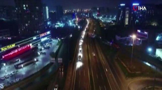 Atatürk Havalimanı'ndan konvoy oluşturan araçlar havadan görüntülendi