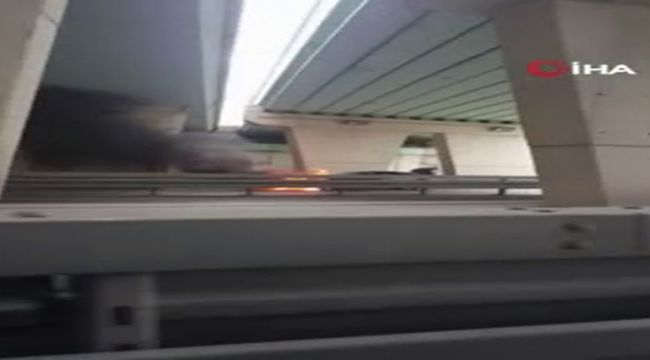 E-5 karayolunda alev alev yanan araç kamerada
