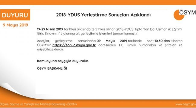2018-YDUS yerleştirme sonuçları açıklandı