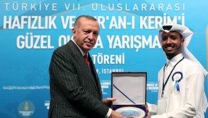 Cumhurbaşkanı Erdoğan, Hafızlık ve Kur'an-ı Kerim'i Güzel Okuma Yarışma ödül törenine katıldı