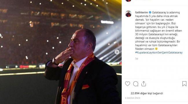 """Fatih Terim: """"Bir hayalimiz var tüm Galatasaraylılar: Neden olmasın"""""""