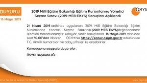MEB-EKYS sonuçları açıklandı
