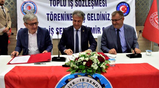Bornova Belediyesi'nin İZBAŞ şirketinde sözleşme sevinci
