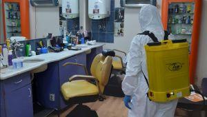 Ödemiş'te berber ve kuaför salonlarında dezenfeksiyon çalışması