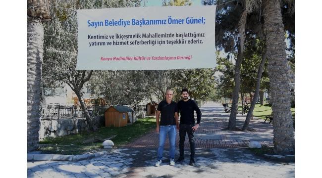 Aydın Büyükşehir ve Kuşadası Belediyesi'ne Pankartlı Teşekkür